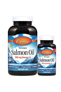 Carlson - Salmon Oil, 500 mg Omega-3s, Norwegian, Heart, Brain & Joint Health, 180 + 50 Softgels