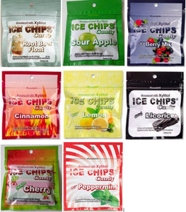 Ice Chips Xylitol Candy in Resealable Pouch (1 oz) 8 Pack Assortment