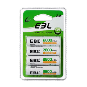 EBL AA Rechargeable Batteries 2800mAh New Retail Package, Pack of 4 4 Pack AA