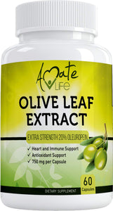 Olive Leaf Extract Capsules 750mg - Immune Support and Antioxidant Supplement for Cardiovascular, Blood Pressure & Heart Health for Men & Women - 20% Oleuropein - 60 Capsules by Amate Life