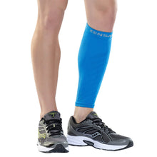 Zensah Calf / Shin Splint Compression Sleeve - Treat Shin Splints and Calf Strains - Compression Sleeve for Running, Basketball, Tennis, Hiking and Jogging - Shin Compression Sleeve (SINGLE SLEEVE) Large/X-Large Blue