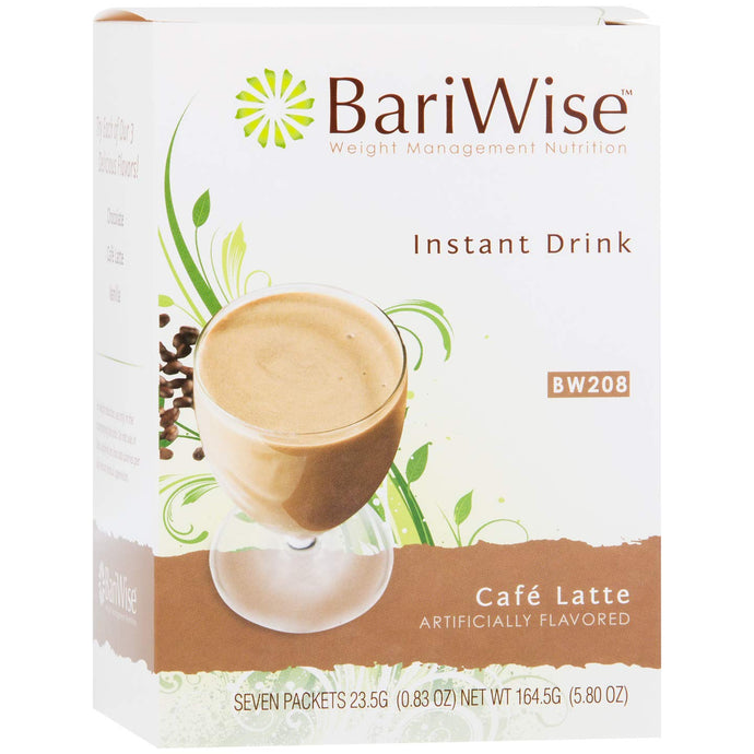 BariWise High Protein Drink Mix/Instant Low-Carb Hot Drink - Cafe Latte (7 Servings/Box) - Low Calorie, Low Carb, Fat Free, Gluten Free 1 Box - 7 servings