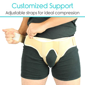 Vive Hernia Belt - Hernia Support Truss for Single/Double Inguinal or Sports Hernia - Two Removable Compression Pads & Adjustable Groin Straps - Surgery & Injury Recovery (Large) Large