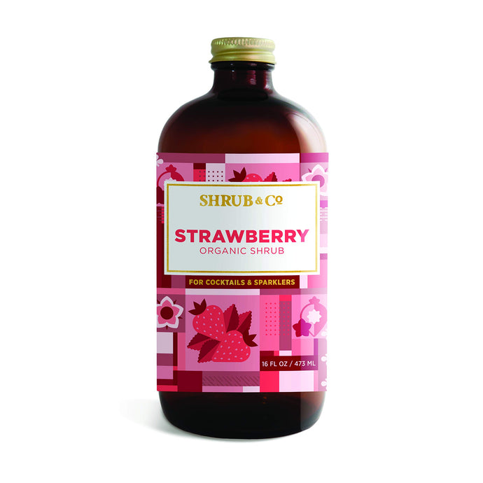 Shrub & Co Organic Strawberry Shrub | Fruit-Driven, Apple Cider Vinegar-Based Mixers for Cocktails, Sparklers, and Club Sodas | 16 fl. oz.