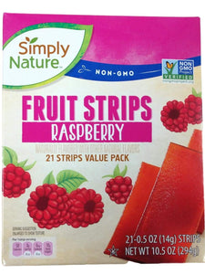 Simply Nature Non GMO Fruit Strips Value Box-1 Each of Strawberry and Raspberry-Bundle of 3 Items includes Bonus Refrigerator Grocery Magnet
