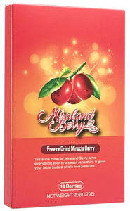 MiralandBerry Freeze Dried Miracle Berry, 10 Whole Berries, Cut Sugar Intake,Turns Sour Foods to Sweet, Great for Taste Tripping Party (1 PACK) 1 PACK