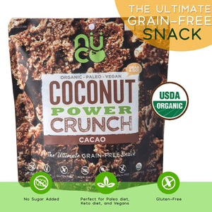 NUCO COCONUT CACAO POWER CRUNCH - Certified Organic, All Natural, Plant Based, Keto Friendly, Paleo, Gluten Free, Vegan, Non-GMO, Kosher, Grab & Go. NO Sugar Added, Grain-free, 30g (6 pack)
