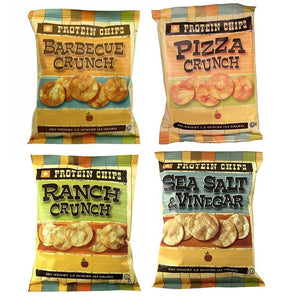 Protein Chips, 4 Flavor Variety Pack, 10g Protein, 5g Fiber, Ranch, Pizza Crunch, Sea Salt & Vinegar, BBQ