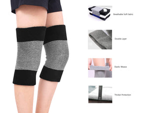 Winter Soft Thermal Knee Braces Leg Warmers Cozy Warm Skiing Cycling Camping Runing Arthritis Tendonitis Knee Pads Leg Sleeves Support Protector for Men Women Black&grey