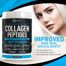 Advanced Collagen Peptides Powder - Grass-Fed Hydrolyzed Collagen Powder with MCT Oil Powder, Collagen Supplement for Anti-Aging, Hair Growth, Skin, Nails & Joints - Unflavored Mixes Easy 30 Servings