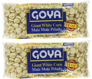 Goya Giant White Corn | Maiz Mote Pelado, 14oz Units (Pack of 2)