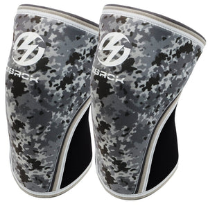 Knee Sleeves (1 Pair), 7mm Neoprene Compression Knee Braces, Great Support for Cross Training, Weightlifting, Powerlifting, Squats, Basketball and More (Grey Camo, Large) Grey Camo