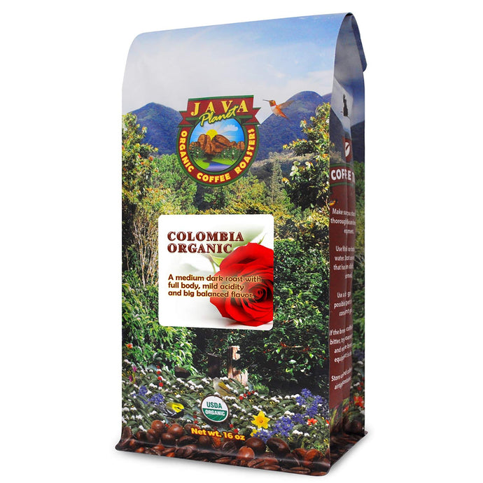 Java Planet - Organic Coffee Beans - Colombian Single Origin - a Gourmet Medium Dark Roast of Arabica Whole Bean Coffee USDA Certified Organic, Rainforest Alliance Certified - 1LB Bag 1 Pound