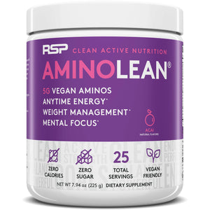 RSP Vegan AminoLean - All Natural Preworkout with Vegan BCAAs, All-In-One Amino Energy, Weight Management, Recovery, and Focus, 25 Serv, Acai 7.94 Ounce