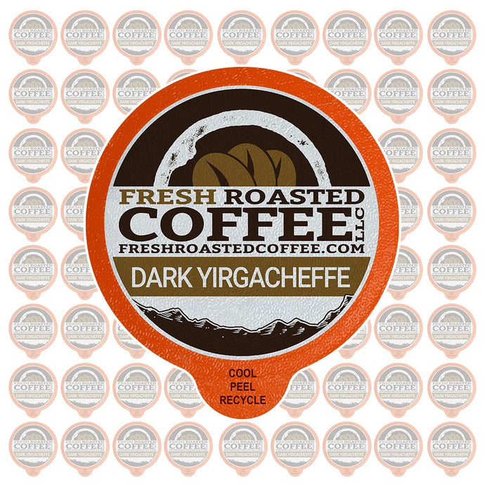Fresh Roasted Coffee LLC, Dark Ethiopian Yirgacheffe Kochere Coffee Pods, Dark Roast, Single Origin, Capsules Compatible with 1.0 & 2.0 Single-Serve Brewers, 72 Count Dark Yirgacheffe