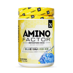 Amino Factor- Instantized 2:1:1 BCAA Supplement to Increase Muscle Protein Synthesis and Speed Recovery (Blue Shaved Ice) Blue Shaved Ice