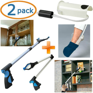 Grabber Reacher Tool & Sock Aid Kit Assist 2 Pack Mobility Tool Kit Adjustable Lightweight & Portable Reaching Assist Tools