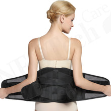 Adjustable Double Pull Lumbar Brace/Lower Back Belt, Pain Relief - Breathable & Lightweight Material - Wide Support - for Lifting, Work, Gym, Posture - Black - Size S Small