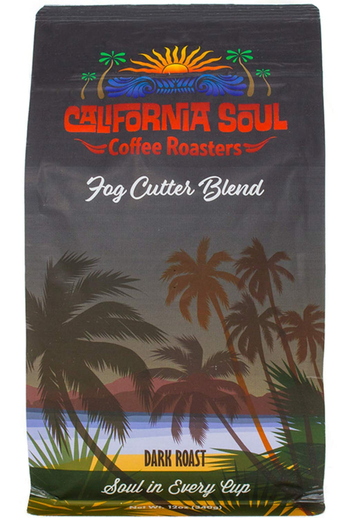 California Soul Gourmet Whole Bean Coffee - Fog Cutter Blend - Dark Roast, 12oz Bag - Premium, Fresh Roasted in Small Batches - For Coffee and Espresso Machines, French Press, Pour Overs, Cold Brew