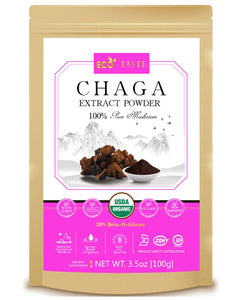 Wild Forest Chaga Mushroom Extract Powder 5:1,USDA Organic, 30% Beta-D-Glucan Supplement, 3.5oz