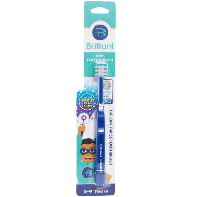 Brilliant Kids Toothbrush Ages 5-9 Years - When Adult Teeth Appear - BPA Free Super-Fine Micro Bristles Clean All-Around Mouth, Kids Love Them, Royal, 1 Count Royal Blue