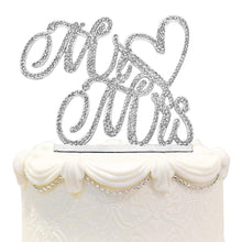 Hatcher lee Mr and Mrs Love Cake Topper Wedding Anniversary Silver Crystal Rhinestone Party Decoration