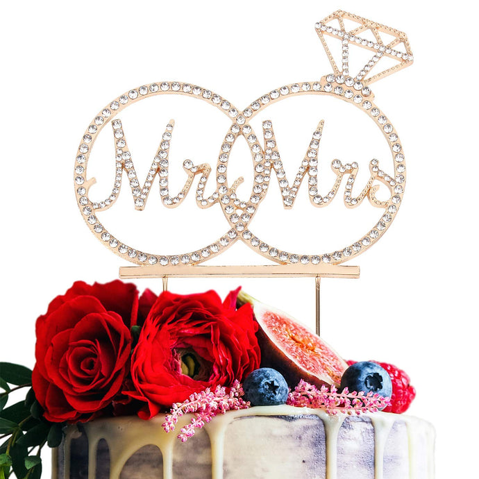 Mr & Mrs Cake Topper For Wedding Anniversary Rings Crystal Rhinestone Party Decoration (Gold) Gold