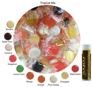 Eda's Sugar Free Hard Candy SUMMER FLAVORS 2 Pounds Edas Individually Bagged with Boardwalk Mix (1 Pound), Mixed Fruit (8 Ounces) & Tropical Mix (8 Ounces) with a Jarosa Chocolate Bliss Lip Balm
