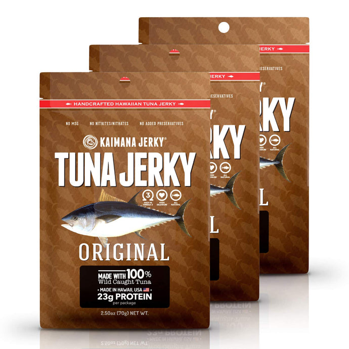 Kaimana Wild-Caught Ahi Tuna Jerky - Original | Rich in Omega-3s & High in Protein | All-Natural & Organic Fish Jerky (3 pack, 2.5 oz)