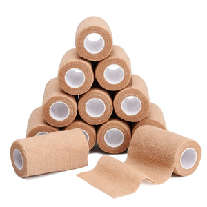 "TOBWOLF 12PCS Cohesive Bandage Wrap, 4""x5yd / 10cmx4.5m Medical Tape, Elastic Self Adherent Wraps Gauze Roll, First Aid Supplies for Wrist Ankle Swelling - Tan"