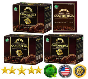 PureGano Ganoderma Coffee Cafe Latte- Reishi Coffee Mix - Instant 3-in-1. 180mg Ganoderma Lucidum Red Reishi Mushroom Extract - Non Dairy Creamer & Sugar Included- 3 Box 30 Sachets