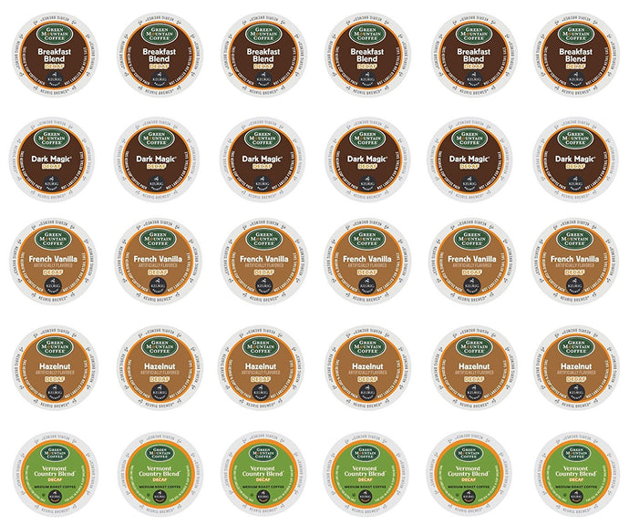 Green Mountain Decaf - Hazelnut Decaf, Vermont Country Blend Decaf, Breakfast Blend Decaf, French Vanilla Decaf & Dark Magic Decaf K-cup Sampler Pack for Keurig 2.0 - 30 Count/5 Varieties