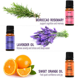Natrogix Bliss Aromatherapy Top 9 Essential Oils Set, 100% Pure Therapeutic Grade, Tea Tree/Lavender/Eucalyptus/Frankincense/Lemongrass/Lemon/Rosemary/Orange/Peppermint-Made in USA 9/ 10ml