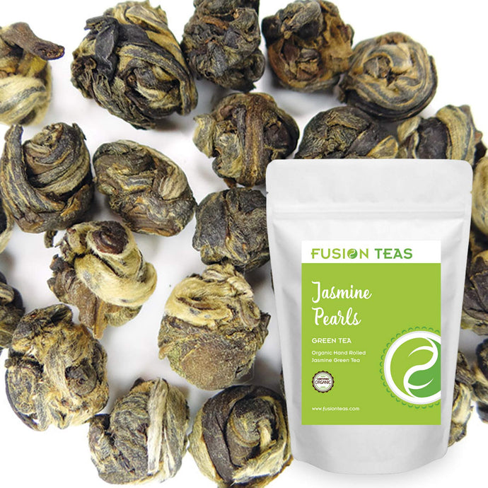 Organic Jasmine Pearls Green Tea - Gourmet Floral Scented Chinese Loose Leaf Tea - 5 Oz. Pouch 5 Ounce