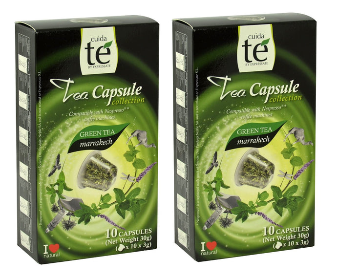 20 Nespresso Compatible Tea Pods - Marrakech Green Tea, 2 Boxes - 10 Pods / Box