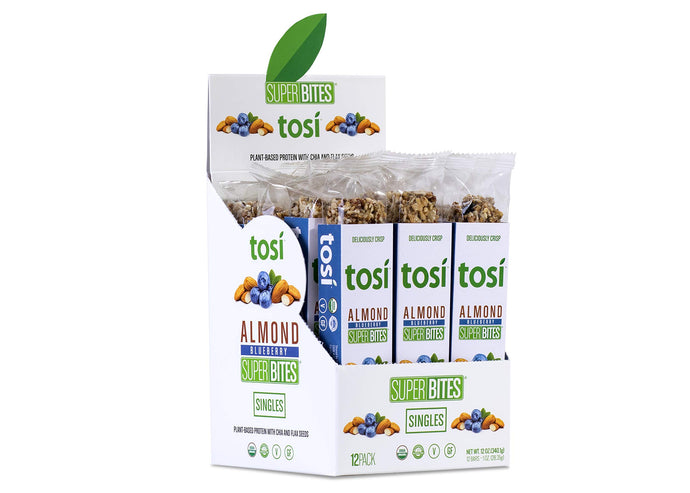 Tosi Organic SuperBites Vegan Snacks, Blueberry Almond, 1oz (Pack of 12), Gluten Free, Omega 3s, Plant Protein, Fiber from Flax and Chia Seeds