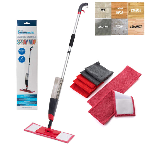 Simpli-Magic 79152 Sanitizing Cleaning Kit with 5 Microfiber Cloths and 2 Mop Heads Included, Black/Red