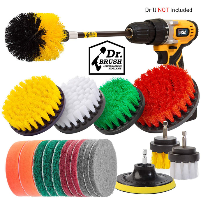 Holikme 20Piece Drill Brush Attachments Set,Scrub Pads & Sponge, Power Scrubber Brush with Extend Long Attachment All purpose Clean for Grout, Tiles, Sinks, Bathtub, Bathroom, Kitchen Yellow