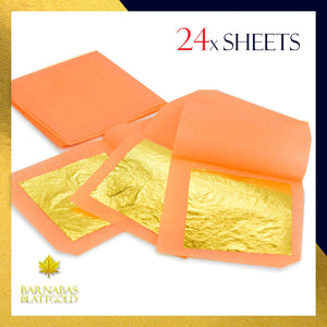 Genuine Edible Gold - Luxury Gold Leaf Sheets - Barnabas Gold Gold Leaf - Loose Leaf for Small Cakes - 1.5 inches per sheet - Book of 24 Sheets Small Leaf (Loose) 24 Sheets Small Leaf - 1.5 Inch (Loose) 24 Sheets