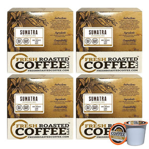 Fresh Roasted Coffee LLC, Sumatra Mandheling Coffee Pods, Medium Roast, Single Origin, Capsules Compatible with 1.0 & 2.0 Single-Serve Brewers, 72 Count