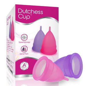 Dutchess Menstrual Authentic Original Cups Set of 2 with Free Bags - Large (A) - No 1 Economical Feminine Alternative Protection for Cloth Sanitary Napkins for Menstruation Set of 2 (Pink and Purple) Large (Pack of 2) POST-Childbirth