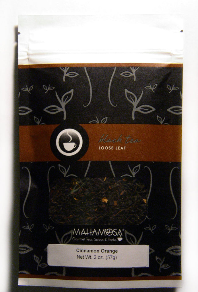 Mahamosa Cinnamon Orange Tea 2 oz - Loose Leaf Flavored Black Tea Blend (with orange peel, cinnamon pieces, ginger pieces, flavoring, vanilla pieces)