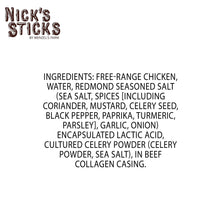 Nick's Sticks | Free Range Chicken Snack Sticks | Gluten Free | Paleo, Keto, Whole30 Approved | No Sugar, Soy, Antibiotics or Hormones (6 - 1.7oz. Packages of 2 Sticks)