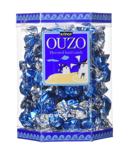Krinos Ouzo Candy - Greek Favorite - Licorice Flavored Treat - Delicious Hard Candy - all Natural Flavors - Contains No Alcohol and No Gluten - Perfect for Parties, Party Favors (1pk)