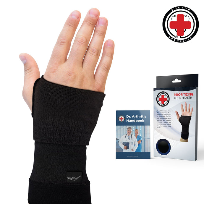 Doctor Developed Copper Infused Wrist Sleeve/Wrist Support/Wrist Brace/Wrist Compression Sleeve [Single] & Doctor Written Handbook— Relief for Wrist Injuries, Arthritis & More (M) Medium