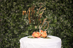 LS Designs Mr and Mrs Cake Topper Wedding Cake Topper Gold Acrylic Large 5 1/2 Inches x 8 Inches Full Acrylic Gold Wedding Cake Topper Mr and Mrs