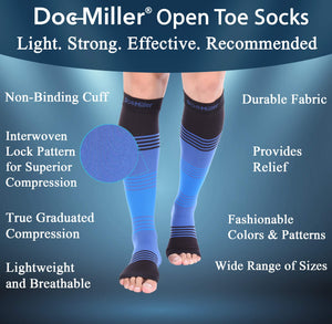 Doc Miller Premium Open Toe Compression Sleeve Dress Series 1 Pair 20-30mmHg Strong Support Graduated Sock Pressure Sports Running Recovery Shin Splints Varicose Veins (BlackBlueBlue, X-Large) Open Toe Blackblueblue