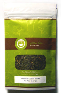 Mahamosa Strawberry Lychee Sencha Tea 2 oz - Loose Leaf Flavored Green Tea Blend (with flavoring, freeze-dried strawberry pieces, jasmine blossoms, rose petals)