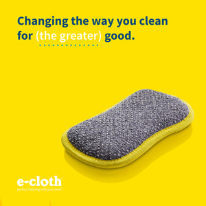 E-Cloth Microfiber Dual Purpose Washing Up Pad, Yellow, 4 Count 4 Pack