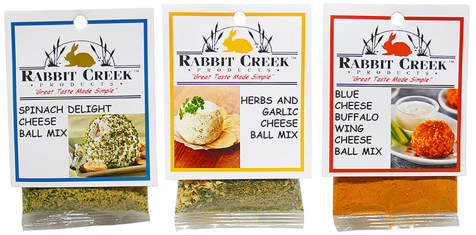 Rabbit Creek Savory Cheeseball Mix Variety Pack of 3 – Spinach Delight, Blue Cheese Buffalo Wing, and Herbs & Garlic Cheeseball and Appetizer Mix
